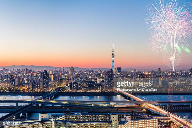 Tokyo skytree with fireworks at night, Japan