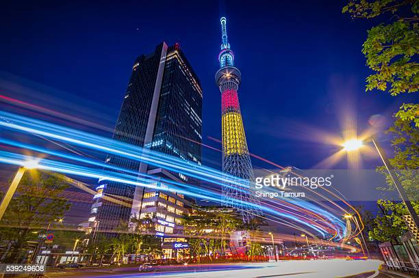 Tokyo Skytree with Light Trails