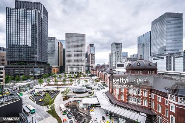 Tokyo Station and Futuristic Skyscrapers in Marunouchi