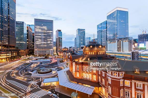 Tokyo station cityscape after dark