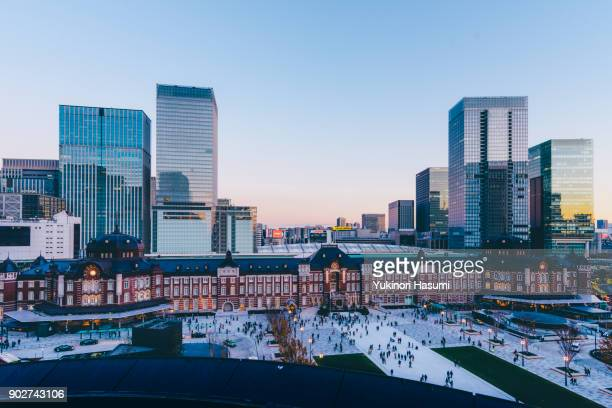 Tokyo Station from above at twilight