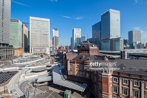 Tokyo station helicopter shot at day time