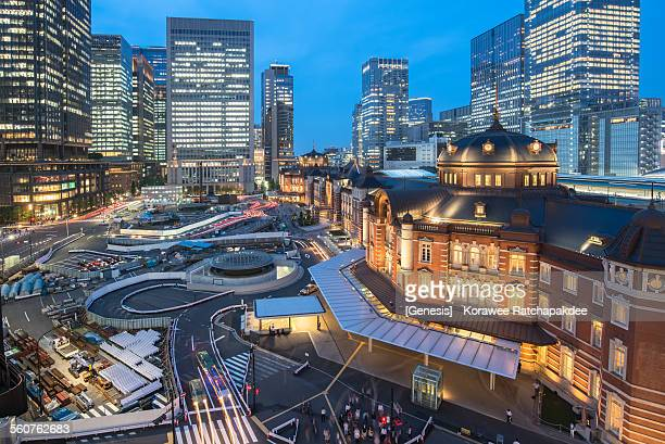 Tokyo station in the blue sky