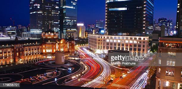 Tokyo station light-trails