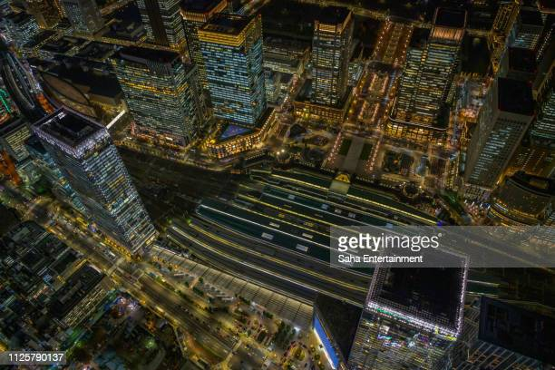 tokyo station night view aerial - saha entertainment stock pictures, royalty-free photos & images