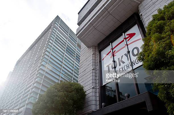 Tokyo Stock Exchange building is seen on January 25 2013 in Tokyo Japan The Bank of Japan acquiesced to Prime Minister Shinzo Abe's demand to set a...