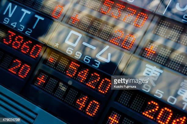 Tokyo Stock Exchange digital stock ticker boards