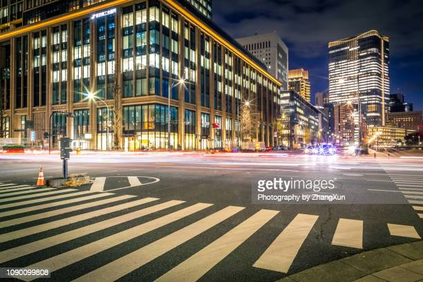 tokyo street and road view, marunouchi, otemachi, hibiya, tokyo station area, japan. - 商業地域 ストックフォトと画像