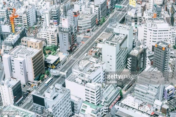 Tokyo Straßen und Gebäude von oben
