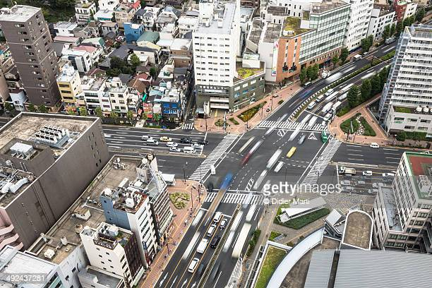 tokyo streets from above - didier marti stock photos and pictures