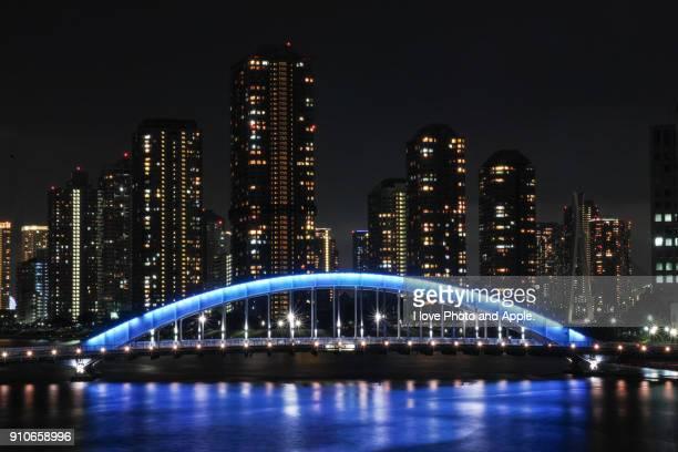tokyo sumida river night scenery - 永代橋 ストックフォトと画像