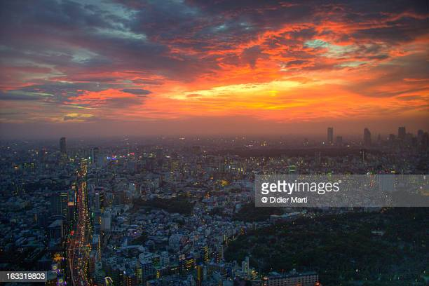 tokyo sunset from the top of roppongi hill - didier marti stock photos and pictures