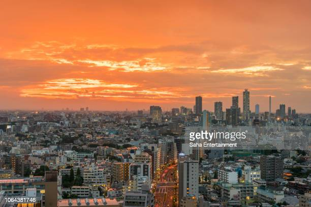 tokyo sunset - saha entertainment stock pictures, royalty-free photos & images