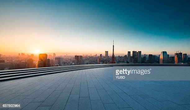 tokyo sunset - horizon over land stock photos and pictures