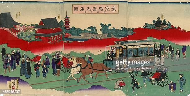 Tokyo tetsudo basha zu sensoji kei Published 1882 Print shows a westernstyle horse drawn railroad passenger car with passengers