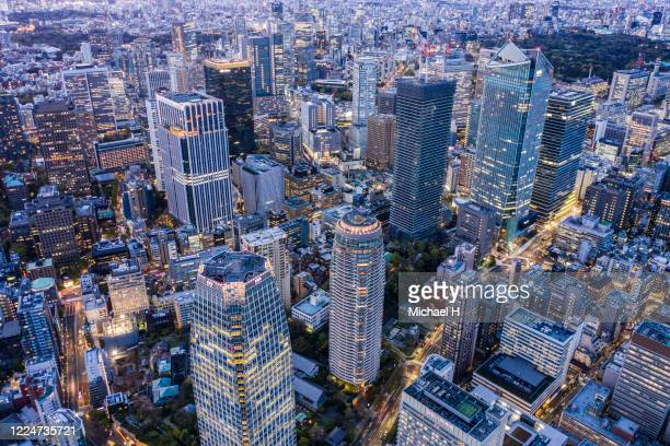 tokyo toranomon aerial view of the downtown - tokyo japan stock pictures, royalty-free photos & images