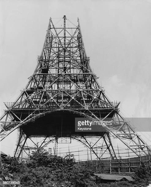 Tokyo Tower a communications and observation tower nears completion in Minato Tokyo Japan 9th June 1958