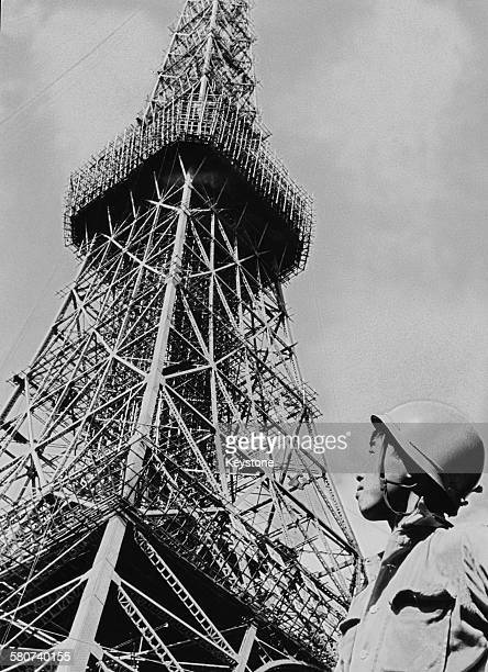 Tokyo Tower a communications and observation tower nears completion in Minato Tokyo Japan 4th November 1958