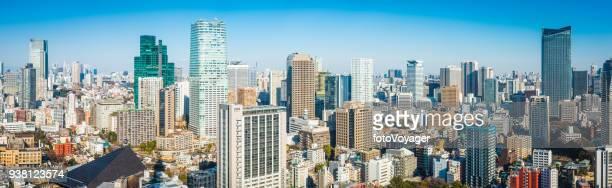 東京タワーの空中パノラマ混雑高層ビル高層都市景観日本 - 東京都庁舎 ストックフォトと画像
