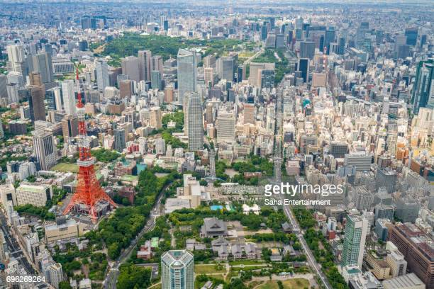 tokyo tower and buildings bird's eye view - saha entertainment stock pictures, royalty-free photos & images