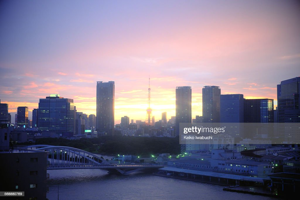 Tokyo tower and cityscape at sunset : Stock Photo