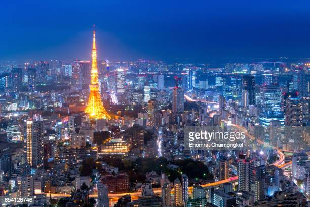 Tokyo tower and Tokyo cityscape view at night,Japan