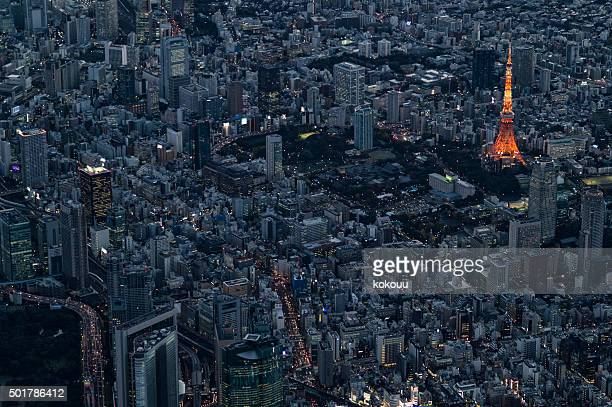 Tokyo Tower as seen from the air