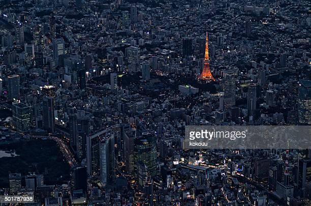 東京のタワーから見た雰囲気