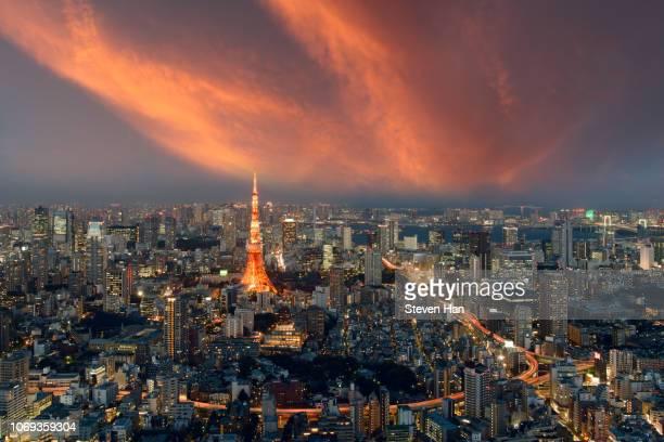 tokyo tower at dusk - フェス ストックフォトと画像