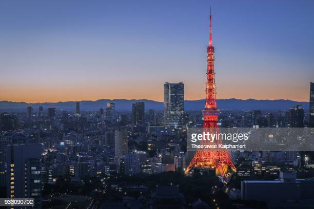 tokyo tower at the evening - the olympic games stock pictures, royalty-free photos & images