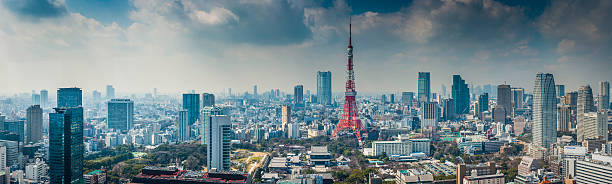 Tokyo Tower Futuristic Skyscraper Cityscape Crowding Central Tokyo Japan Wall Art