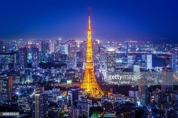 Tokyo tower in blue twilight