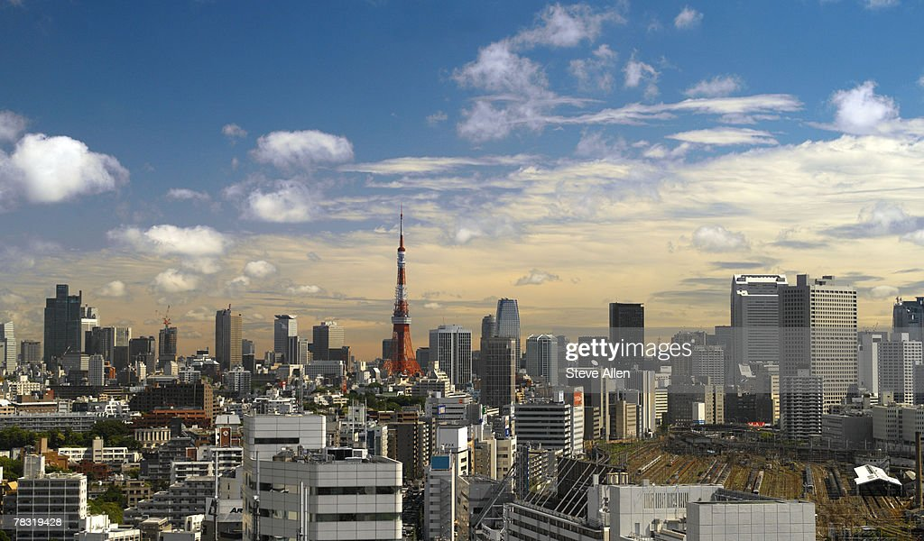 Tokyo Tower in cityscape : Stock Photo