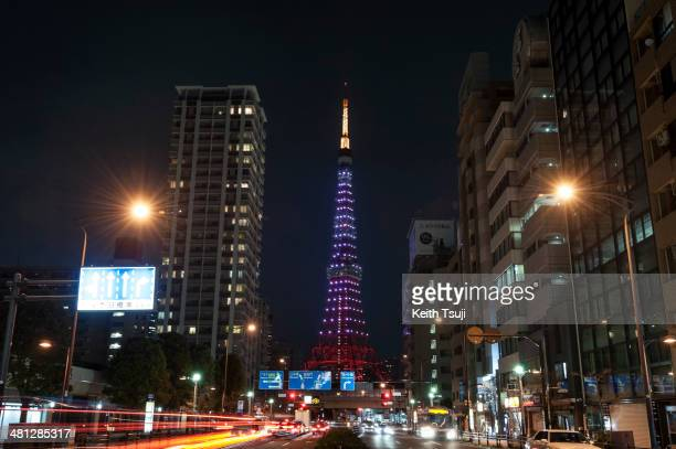Tokyo Tower is illuminated before the lights were switched off to recognize Earth Hour on March 29 2014 in Tokyo Japan Millions of people around the...
