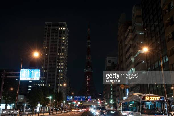 Tokyo Tower is seen after the lights were switched off to recognize Earth Hour on March 29 2014 in Tokyo Japan Millions of people around the world...