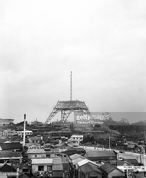 Tokyo Tower is under construction on March 7 1958 in Tokyo Japan