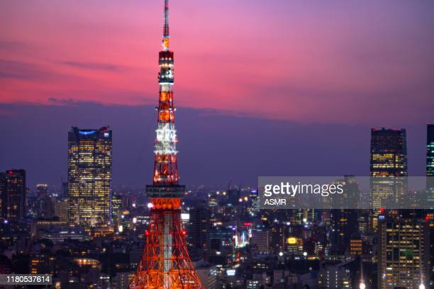 tokyo tower, japan skyline - この撮影のクリップをもっと見る 2025 stock pictures, royalty-free photos & images