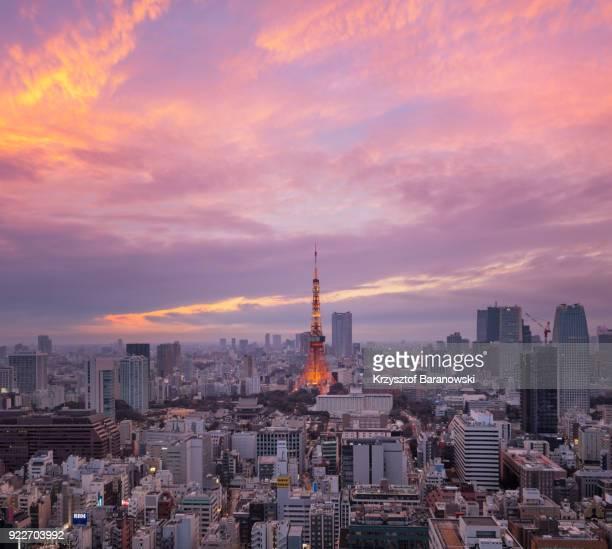 tokyo tower last sunset of 2017 - ロマンチックな空 ストックフォトと画像