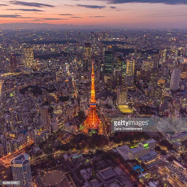 tokyo tower light up aerial view - saha entertainment stock pictures, royalty-free photos & images