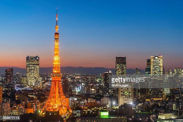 東京タワー夜の高層ビル街のネオン照明日本の混雑した