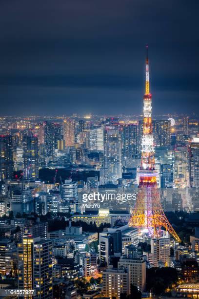 tokyo tower - international landmark stock pictures, royalty-free photos & images