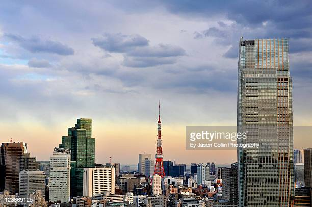 tokyo tower - tokyo midtown stock pictures, royalty-free photos & images