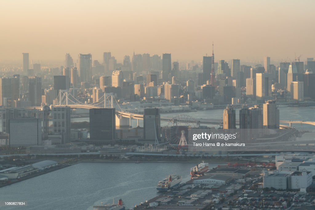 Tokyo Tower, Rainbow Bridge and Tokyo cityscape sunset time aerial view from airplane : ストックフォト