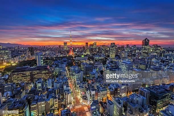 tokyo tower sunset - ロマンチックな空 ストックフォトと画像