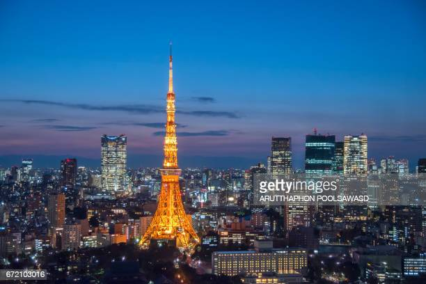 Tokyo tower , Tokyo city at sunset and Twilight time , Japan