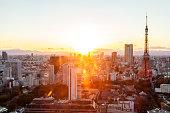 Tokyo Urban Skyline with tokyo tower, Japan at sunset.
