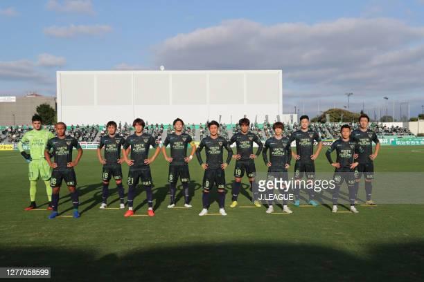 Tokyo Verdy players line up for the team photos prior to the J.League Meiji Yasuda J2 match between Tokyo Verdy and Giravanz Kitakyushu at Ajinomoto...