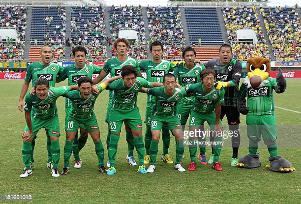 Tokyo Verdy players line up for the team photos prior to the JLeague second division match between Tokyo Verdy and JEF United Chiba at Komazawa...