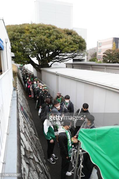 Tokyo Verdy supporters are seen outside the stadium prior to the J.League Meiji Yasuda J2 match between Tokyo Verdy and Avispa Fukuoka at Ajinomoto...