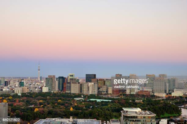 tokyo view at sunset - imperial palace tokyo stock pictures, royalty-free photos & images